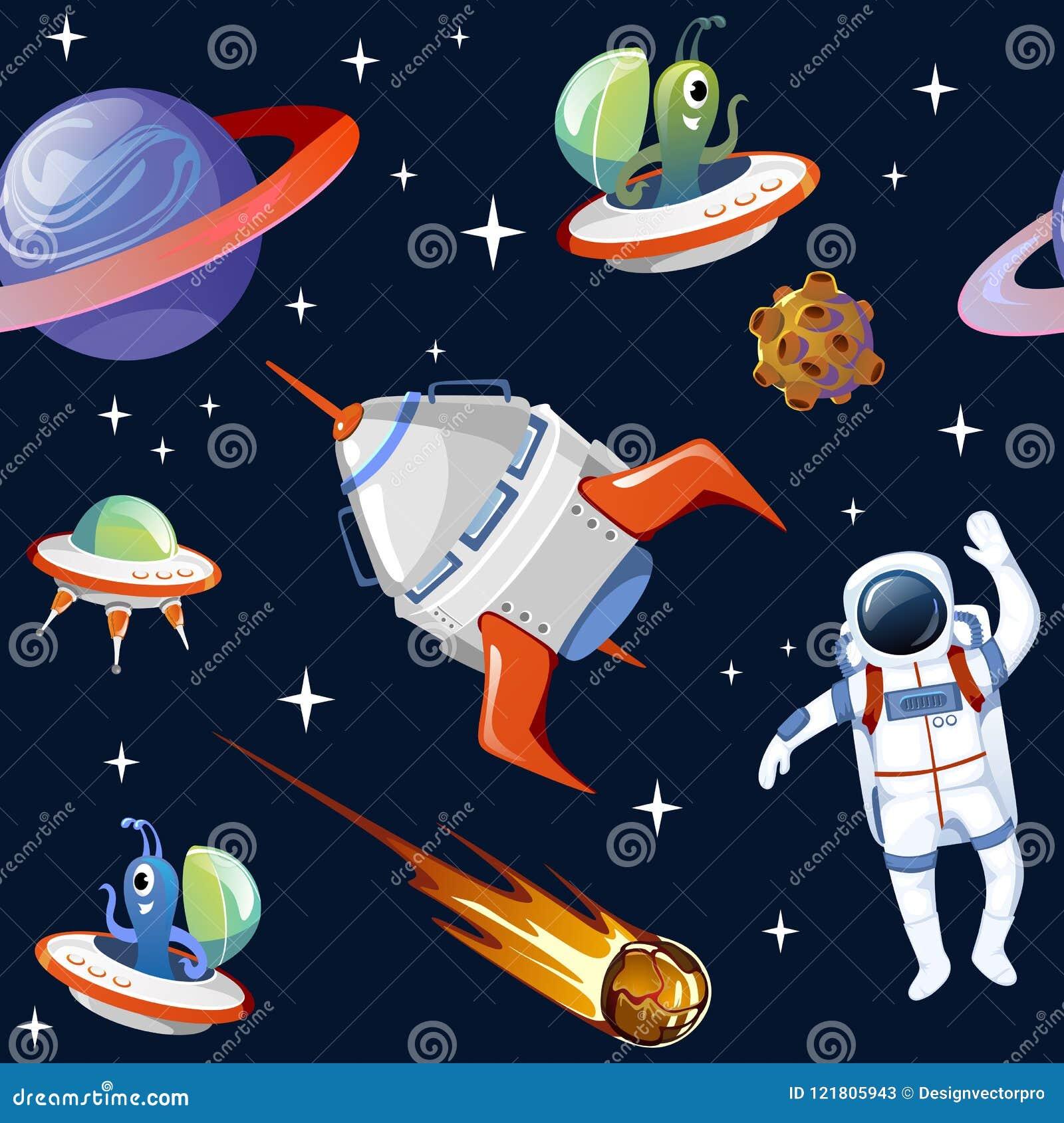 Modèle seampless de l espace de bande dessinée Planètes, asteroïdes, astronautes,