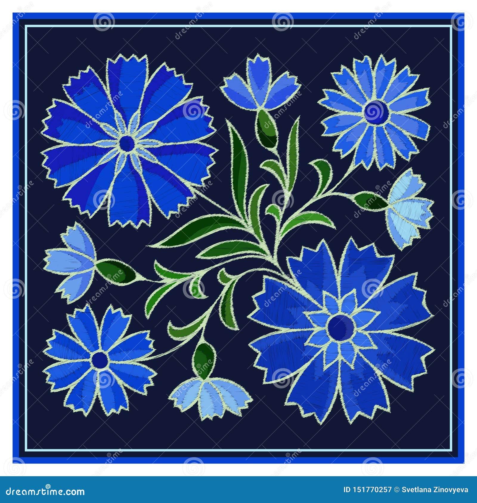 Modèle stylisé de bleuet de broderie sur le fond foncé