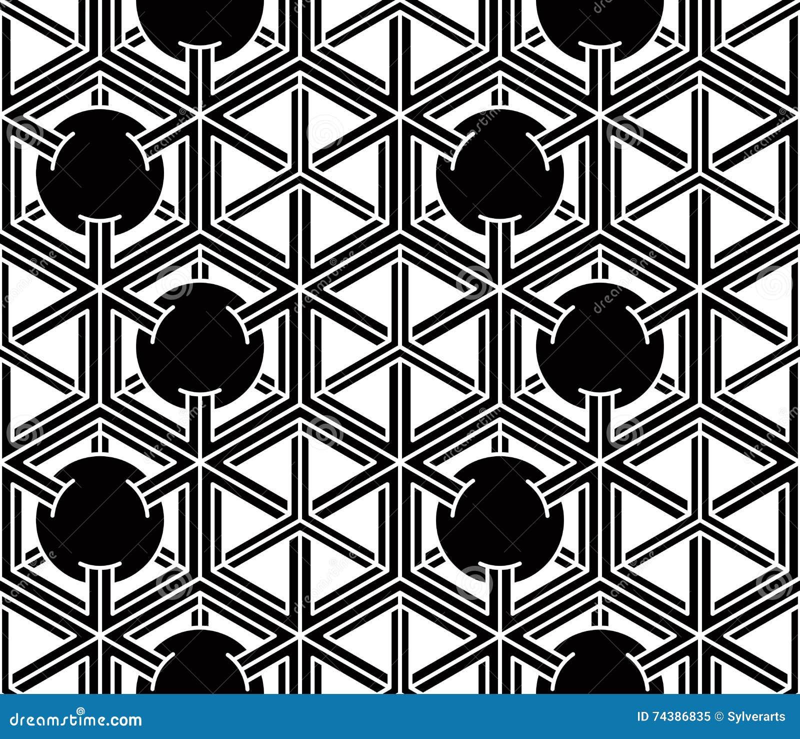 Modèle symétrique monochrome sans fin, conception graphique géométrique