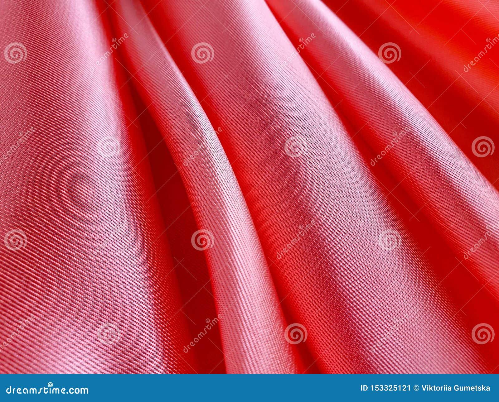 Modèle, texture, fond, papier peint Tissu mou rose-clair et de pêche de couleur de satin, avec la surface brillante et brillante,