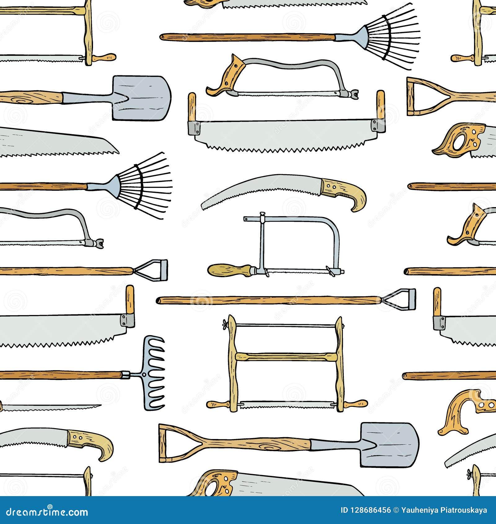 Modèle Tiré Par La Main D\'outils De Jardin Illustration de ...