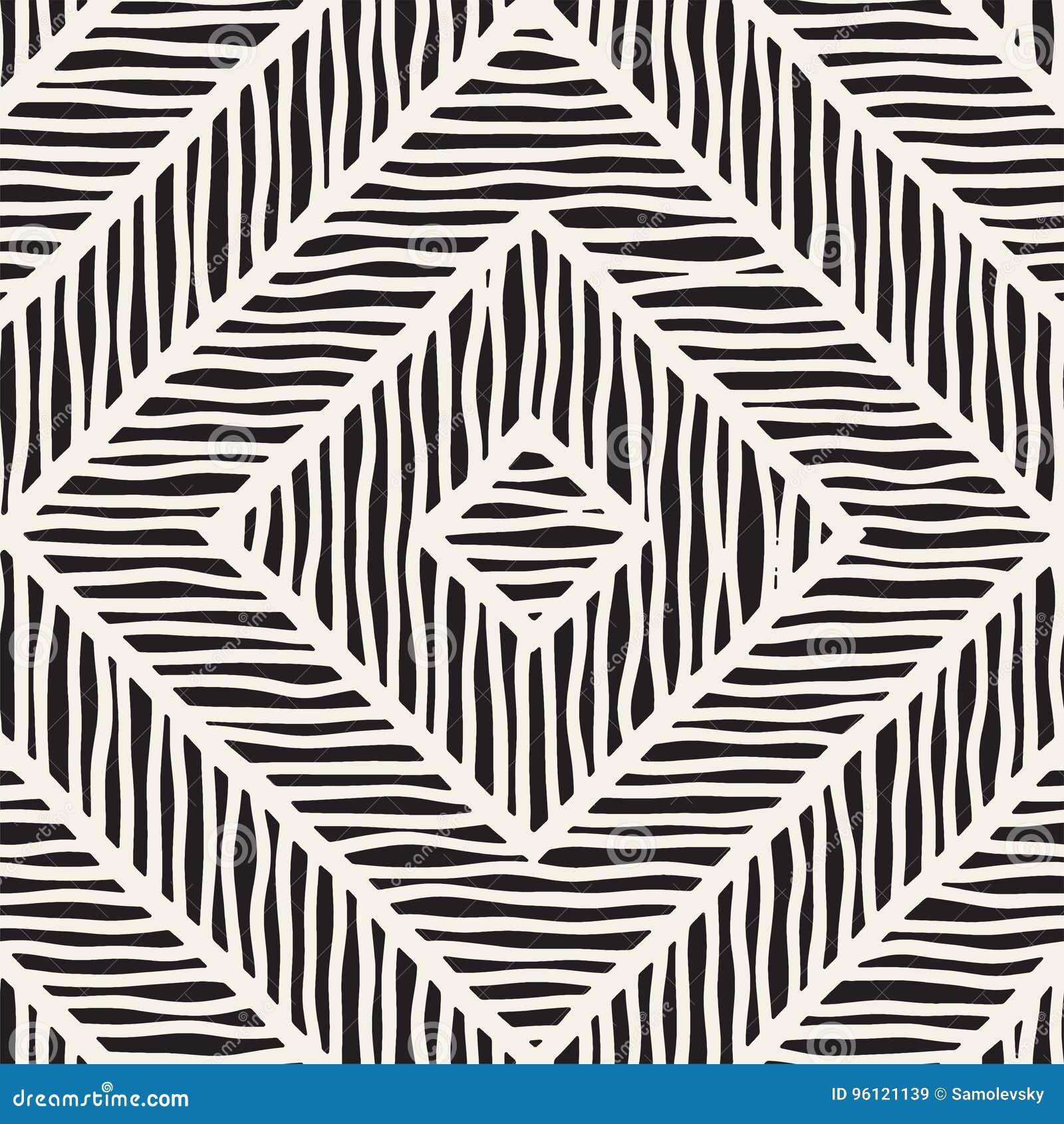 Modèle tiré par la main sans couture de vecteur Zigzag et lignes approximatives de rayure Fond tribal de conception Texture ethni
