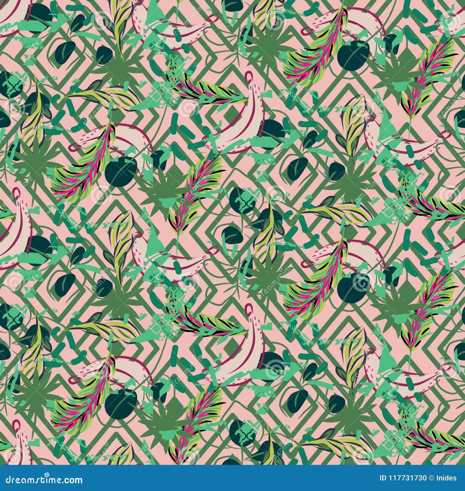 Modele Tropical De Paume D Usine Exotique De Jungle De Fusion Papier