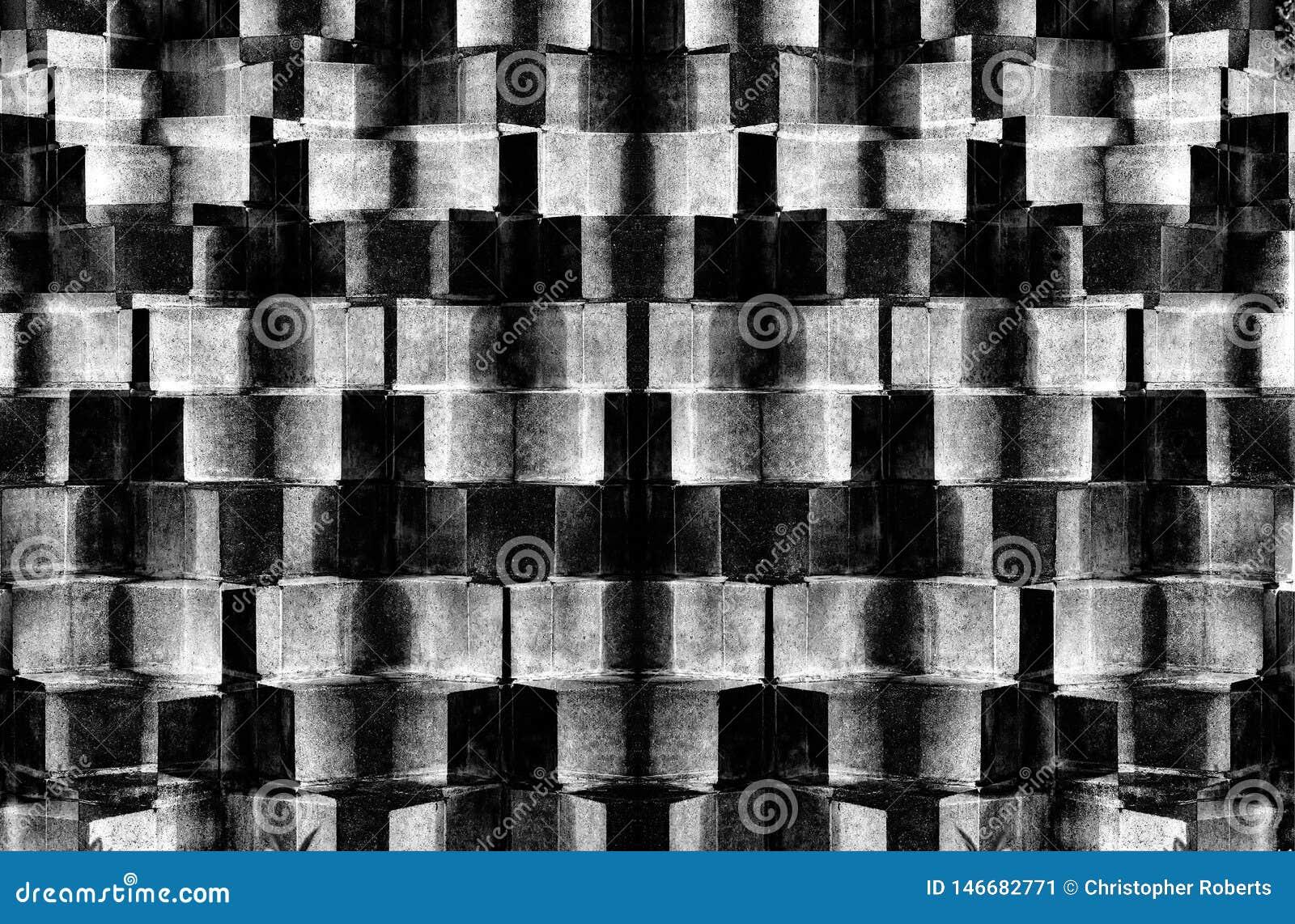 Modèles abstraits de brique avec des couleurs noires et blanches