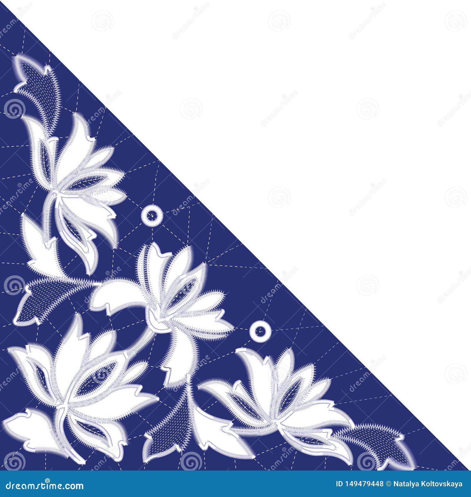 Modèles blancs de broderie de Richelieu sur le fond bleu