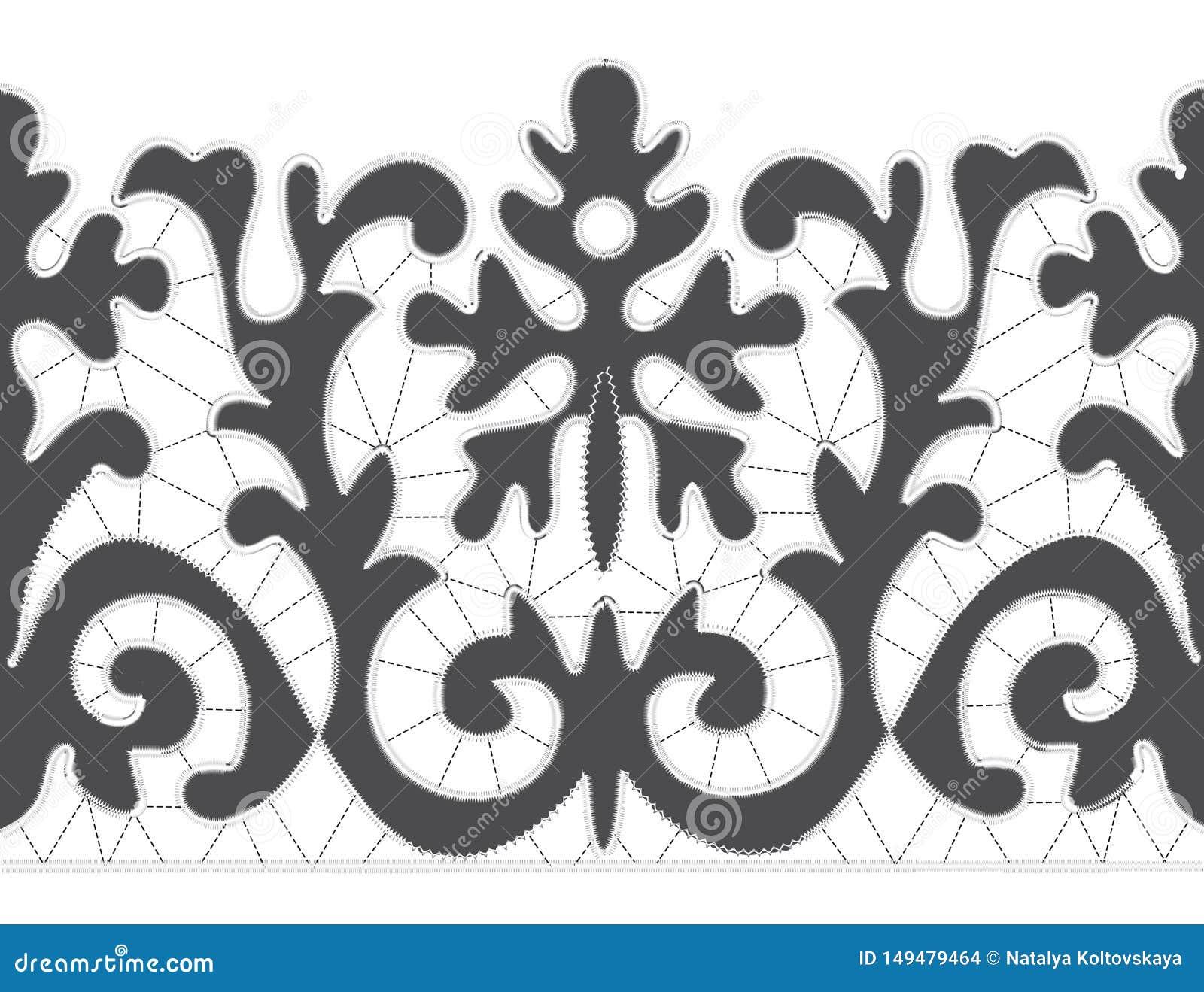 Modèles de broderie de Gray Richelieu sur le fond blanc