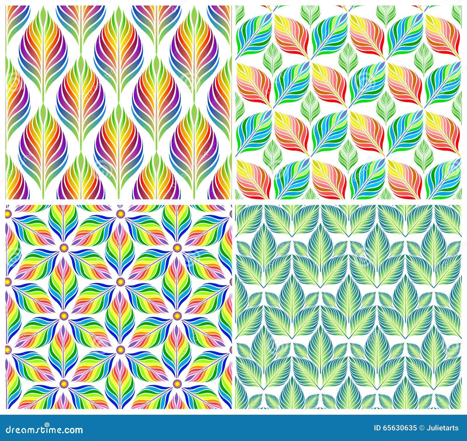 Modèles sans couture avec les feuilles colorées Ensemble de vecteur