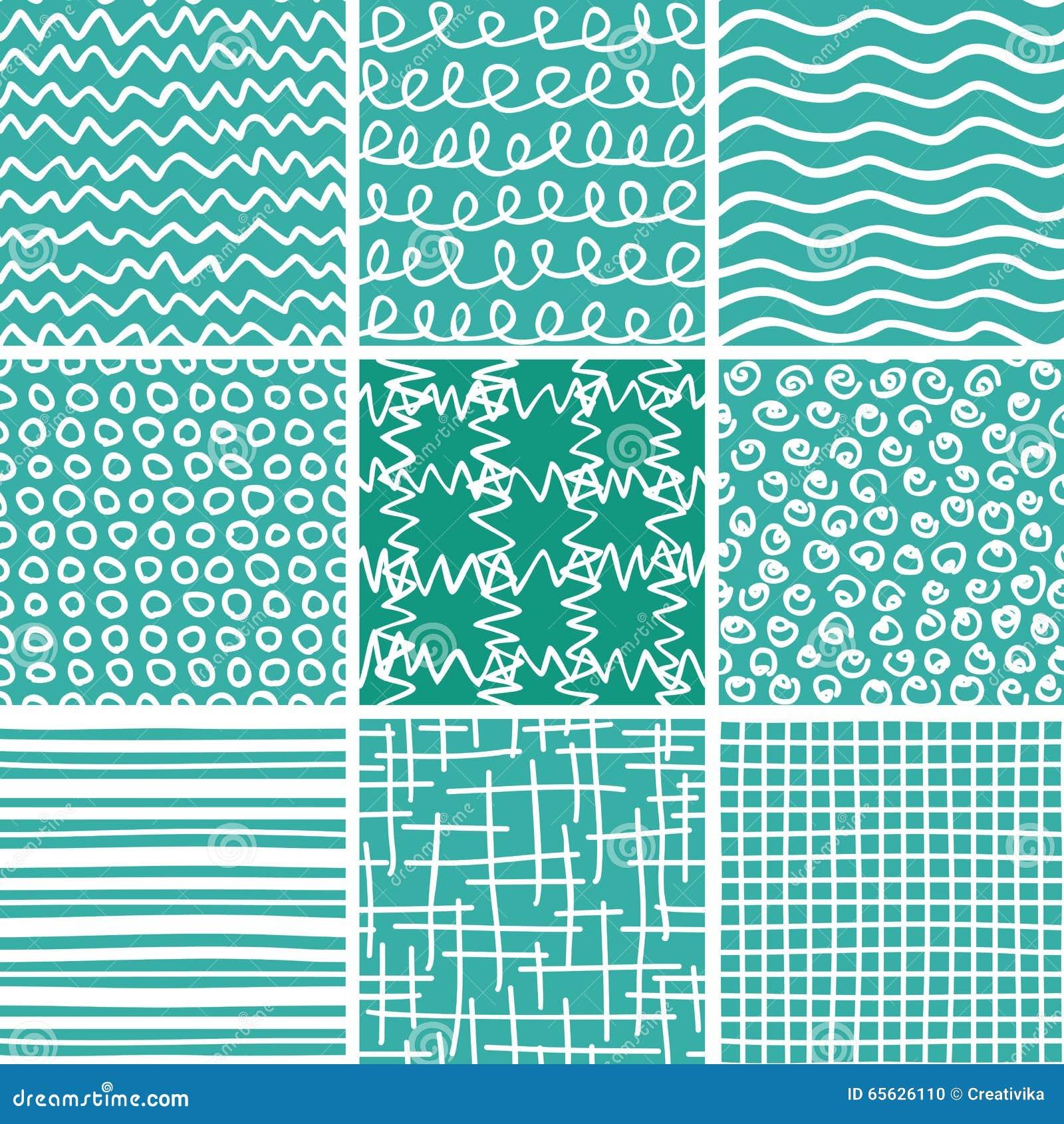 Modèles sans couture de griffonnage abstrait réglés