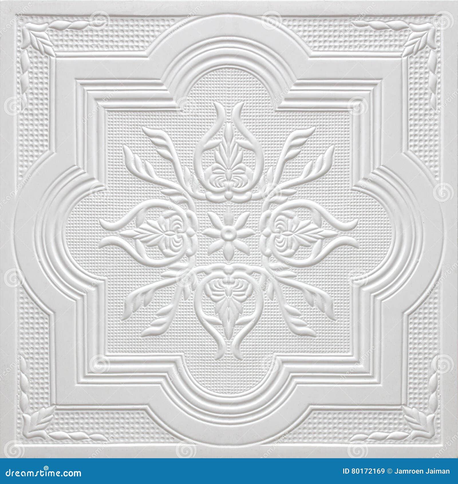Modèles Sur Les Feuilles De Gypse De Plafond De Fleurs Blanches