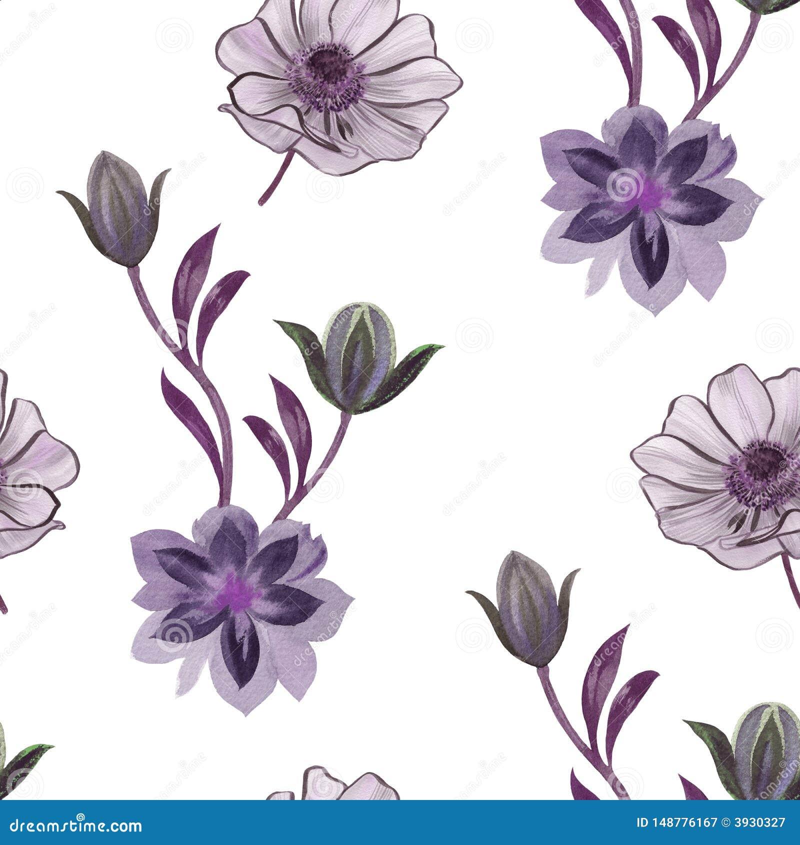 Mod?le de fleurs sans couture d aquarelle Fleurs peintes ? la main sur un fond blanc Fleurs pour la conception Fleurs d ornement
