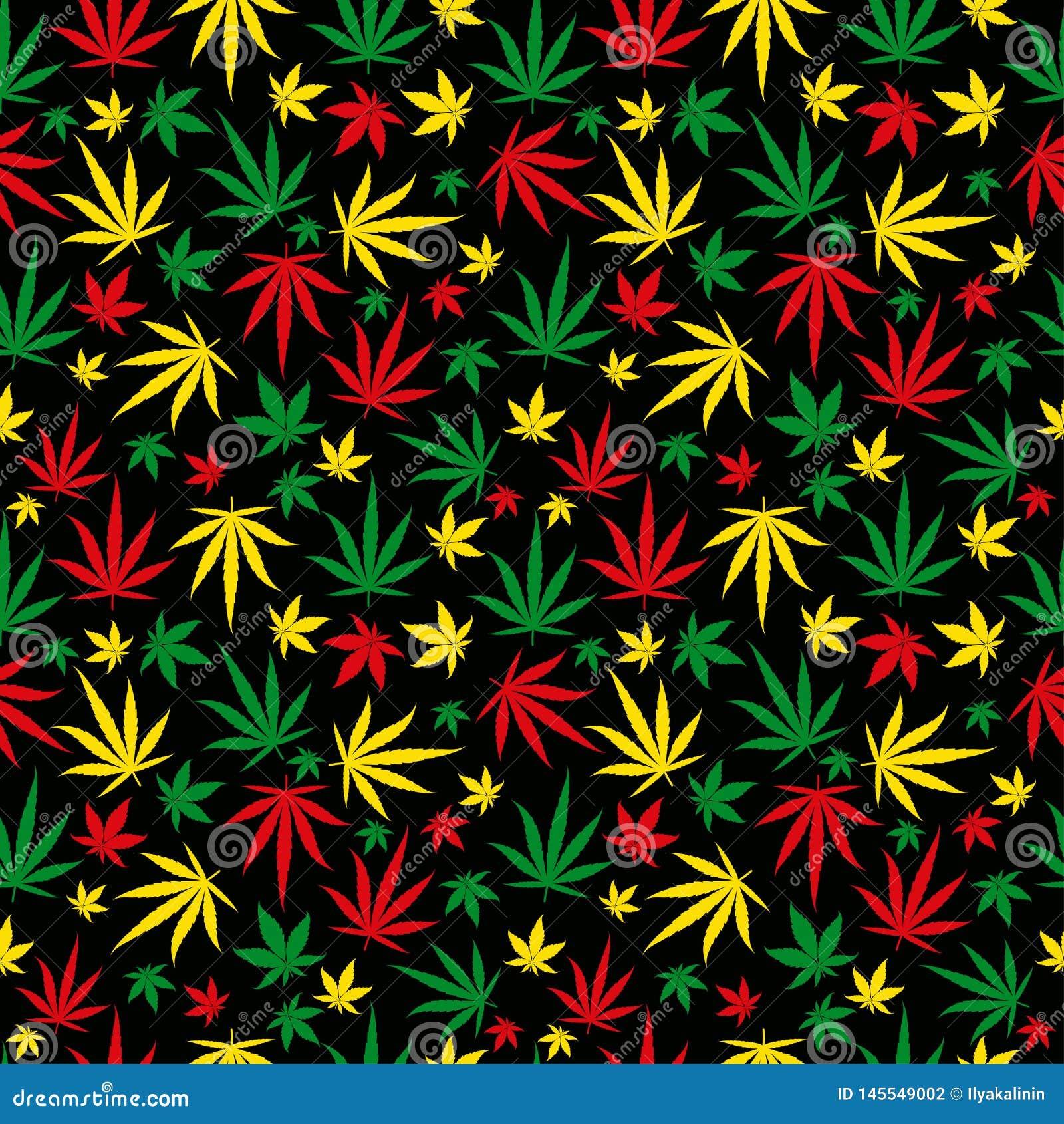 Mod?le de Rasta Ornement de couleur de reggae Fond sans couture de marijuana Suffisance de calibre de chanvre de cannabis de Rast