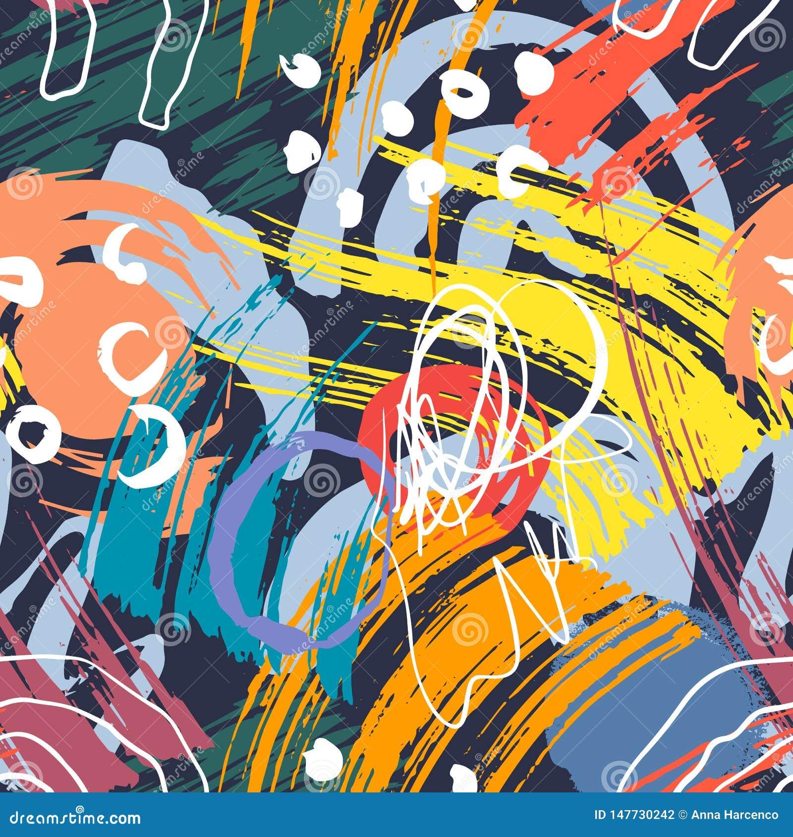 Mod?le g?om?trique abstrait avec les lignes onduleuses Griffonnage backgrounded Fond sans joint de vecteur