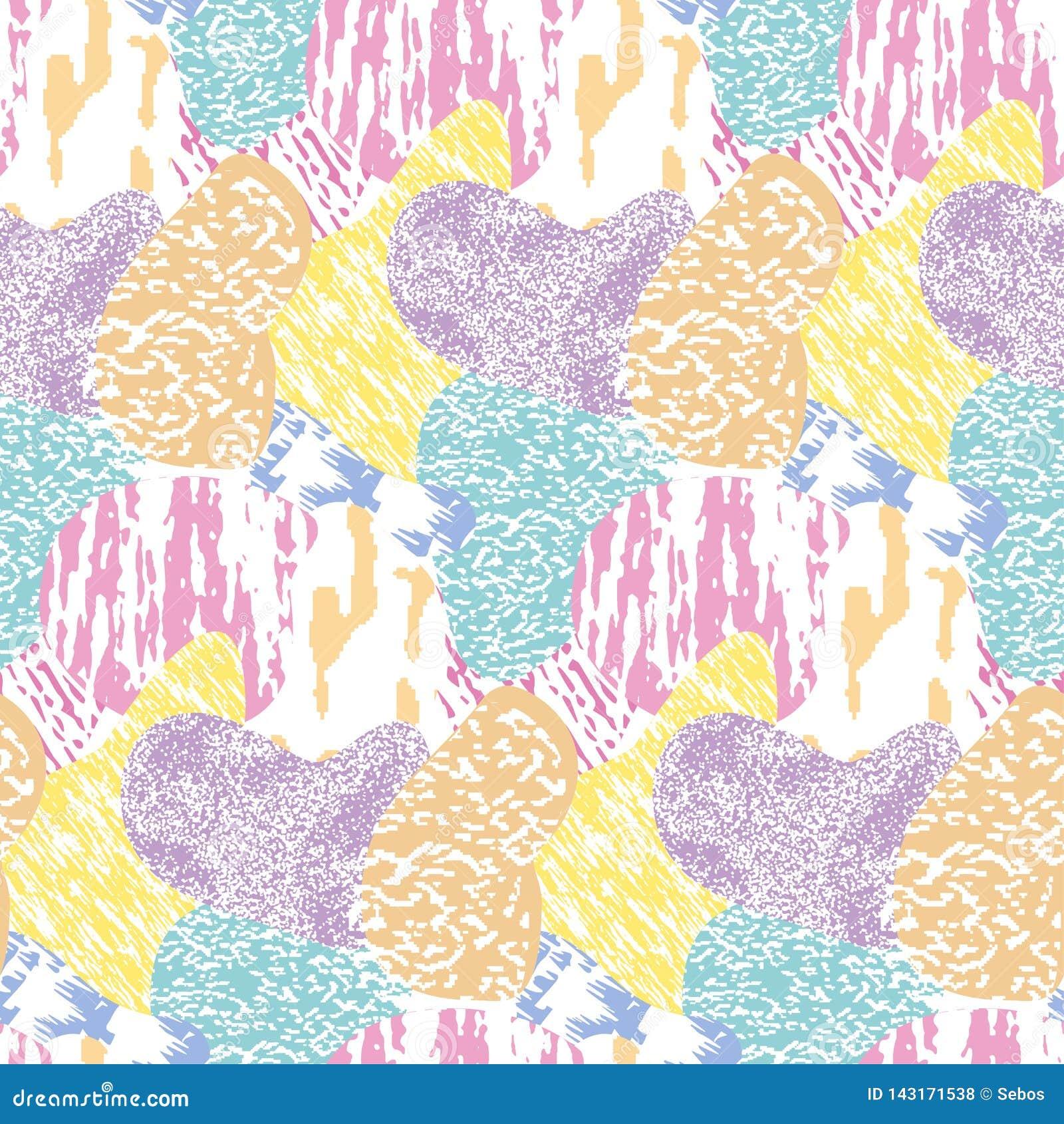 Mod?le grunge texturis? et color? moderne sans couture Fond avec l ornement graphique de combinaisons multicolores EPS10