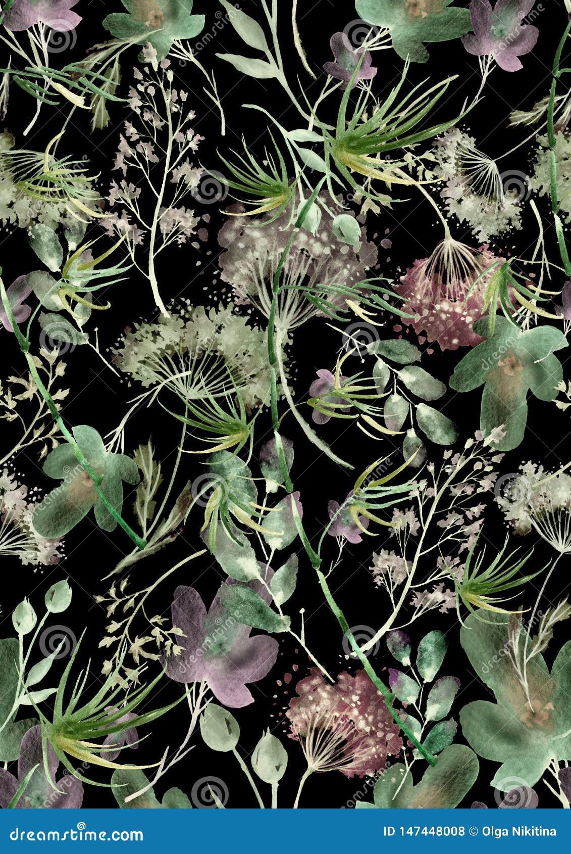 Mod?le sans couture d aquarelle, fond avec un mod?le floral Beaux dessins de cru des usines, fleurs, branche de saule, baie