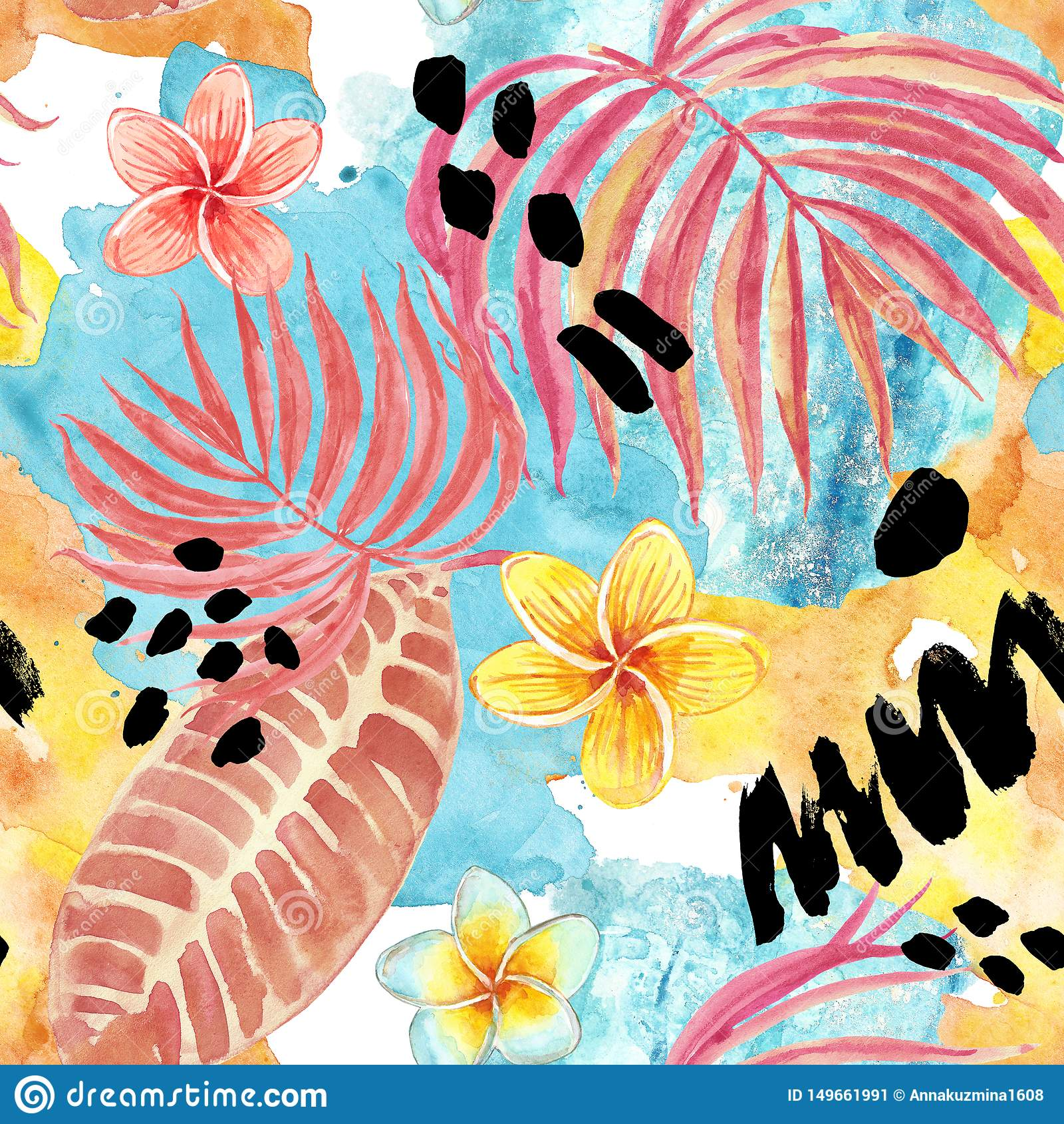 Mod?le sans couture de feuilles tropicales d aquarelle Palmette peinte ? la main, fleurs exotiques de plumeria et feuillage sur l