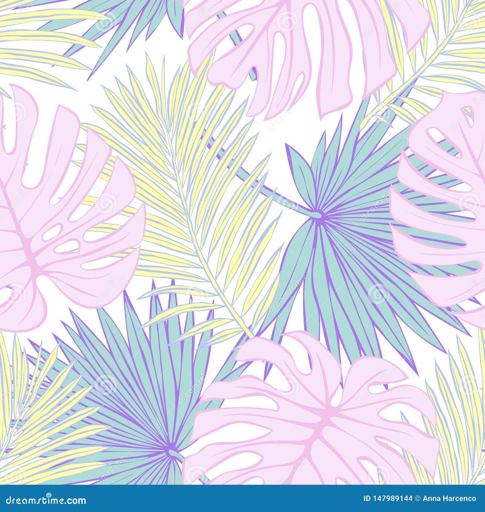 Mod?le sans couture des feuilles tropicales Dirigez la configuration sans joint Illustration tropicale Feuillage de jungle