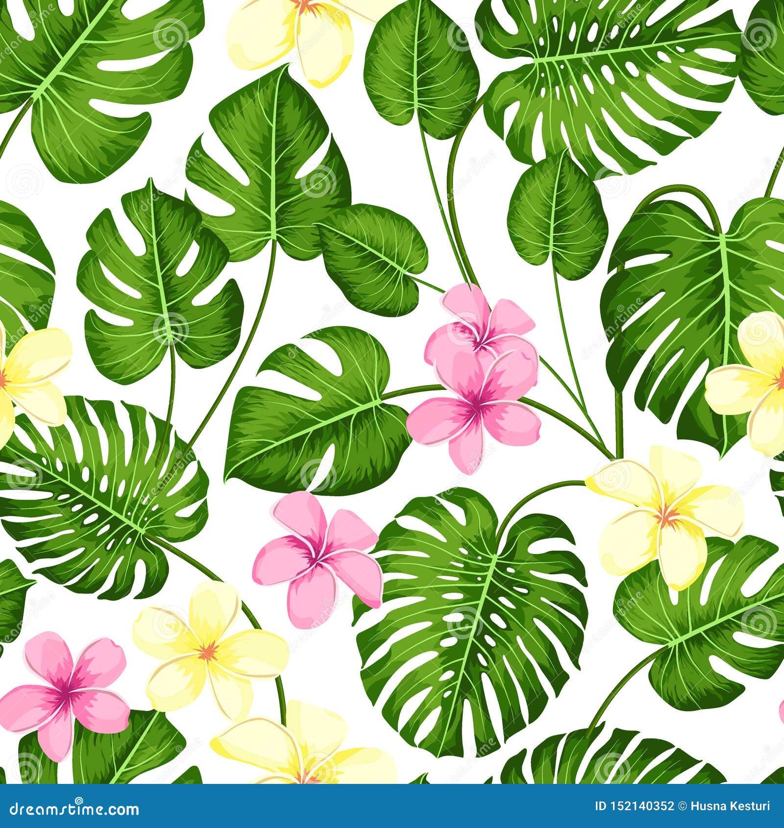 Mod?le sans couture tropical avec les palmettes exotiques et fleur tropicale Monstera tropical Type hawa?en Illustration de vecte