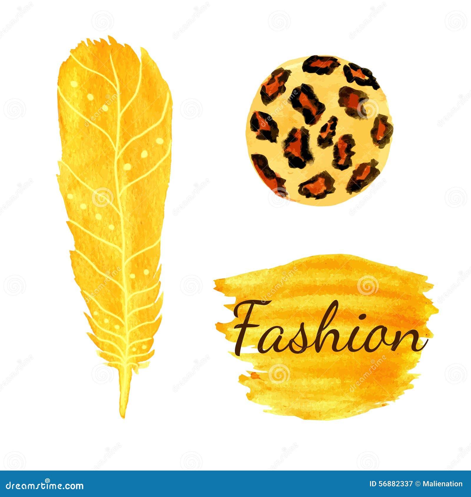 Moda de la acuarela fijada en color amarillo Textura del círculo del leopardo, pluma Vector étnico