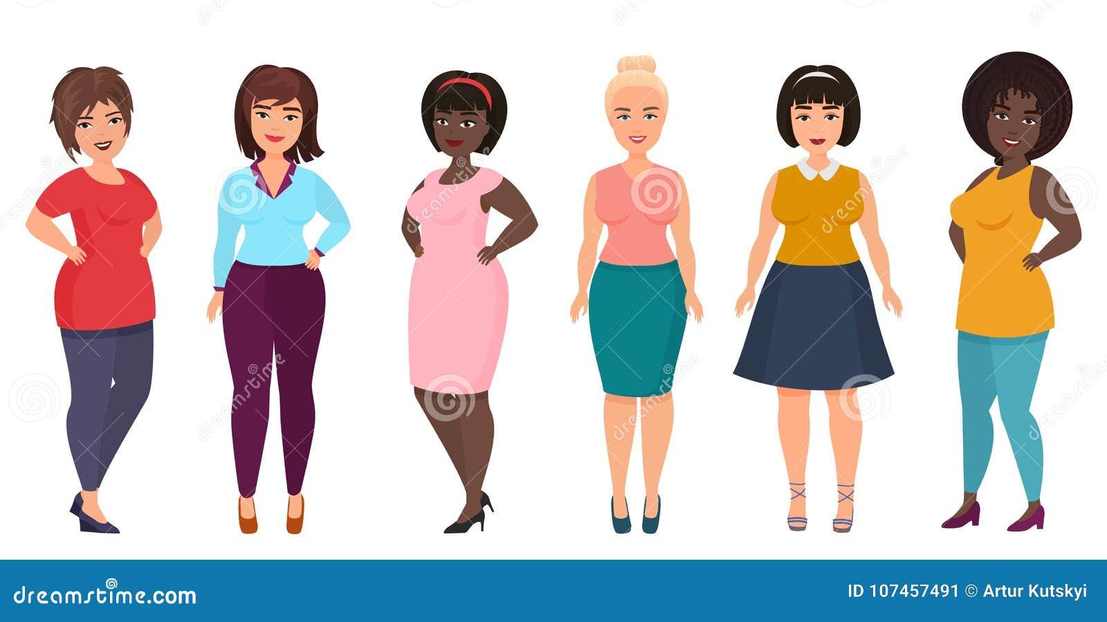 Moda de la mujer del tamaño extra grande del vector La muchacha femenina Curvy, gorda en ropa informal viste