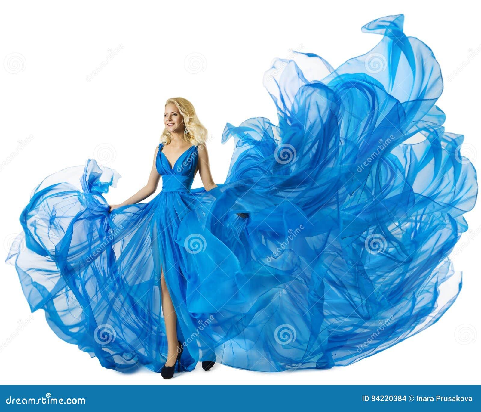 Moda model Tanczy błękit Smokingową Latającą tkaninę, kobiety falowania toga