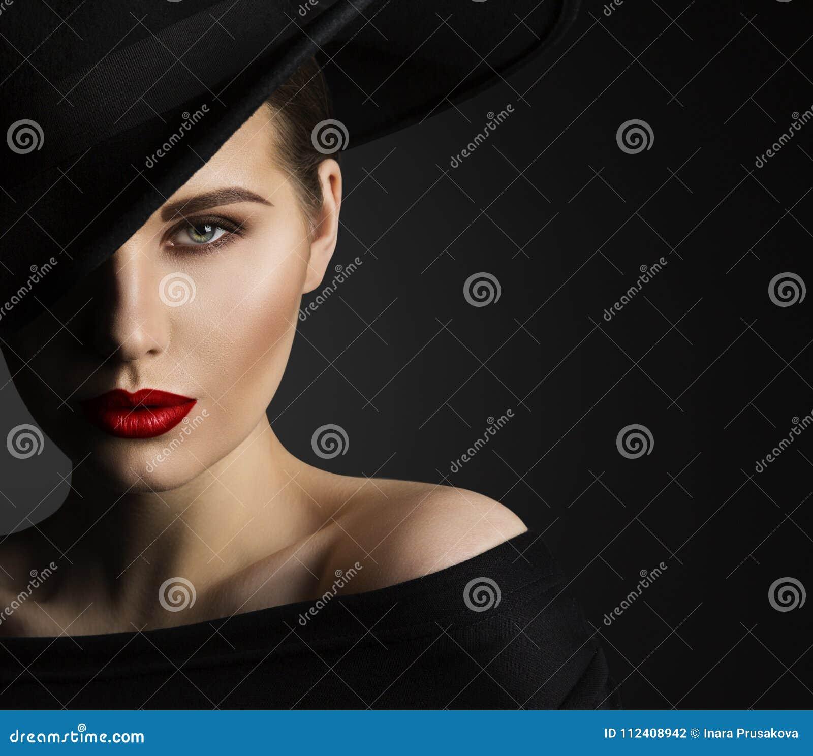 Moda modela piękna portret, kobiety piękno, Elegancki czarny kapelusz