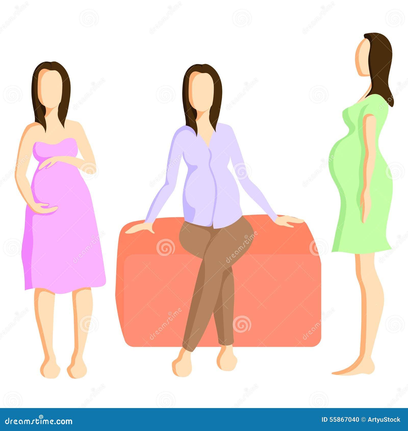1f0dafbb8 Sistema de tres opciones para el estilo colorido de la ropa de maternidad  plano Ilustración del vector