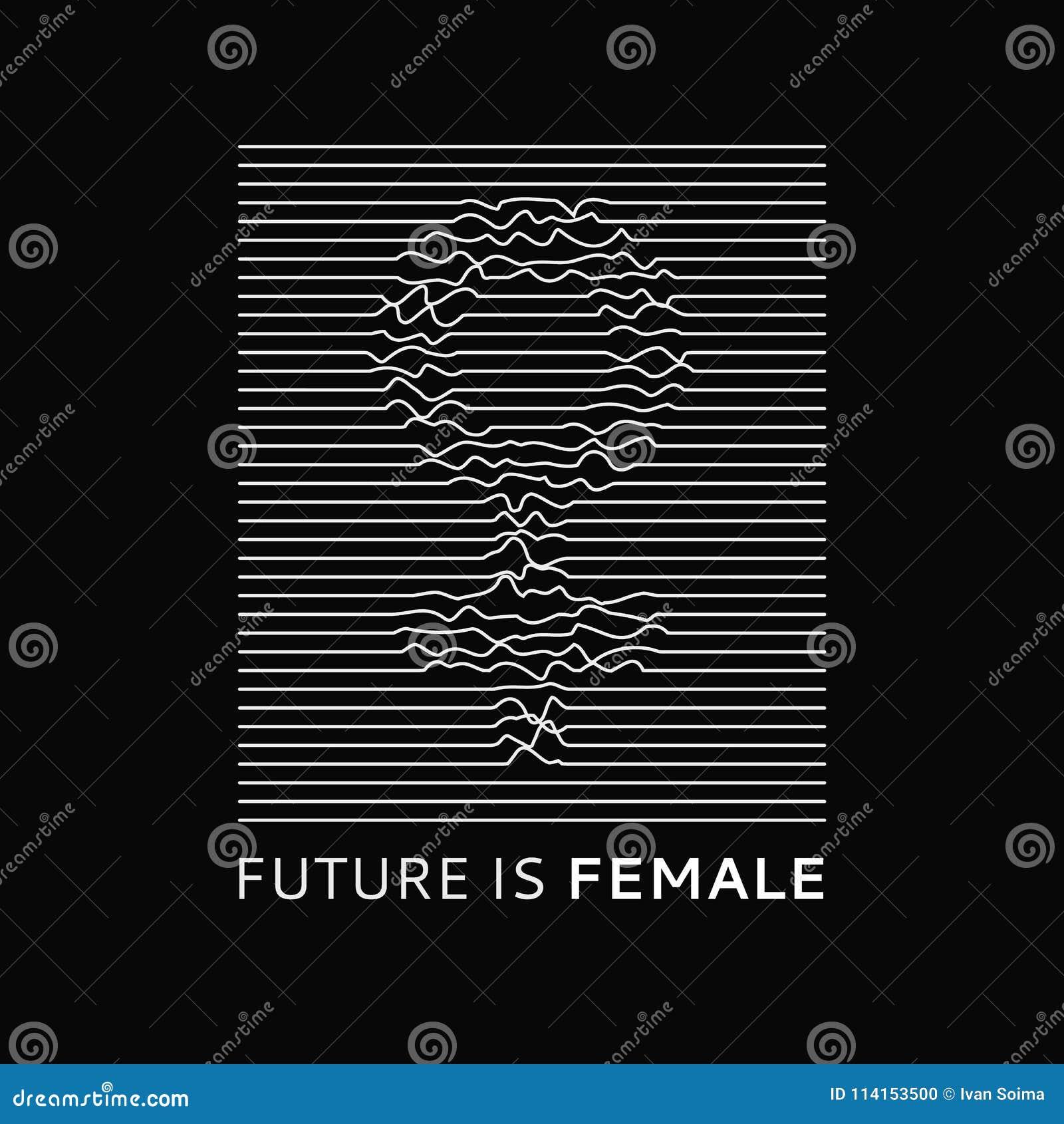 Moda sloganu przyszłość jest Żeńska Feministyczny slogan, roath linie, projekt koszulki druk lub broderia, łaty typografia
