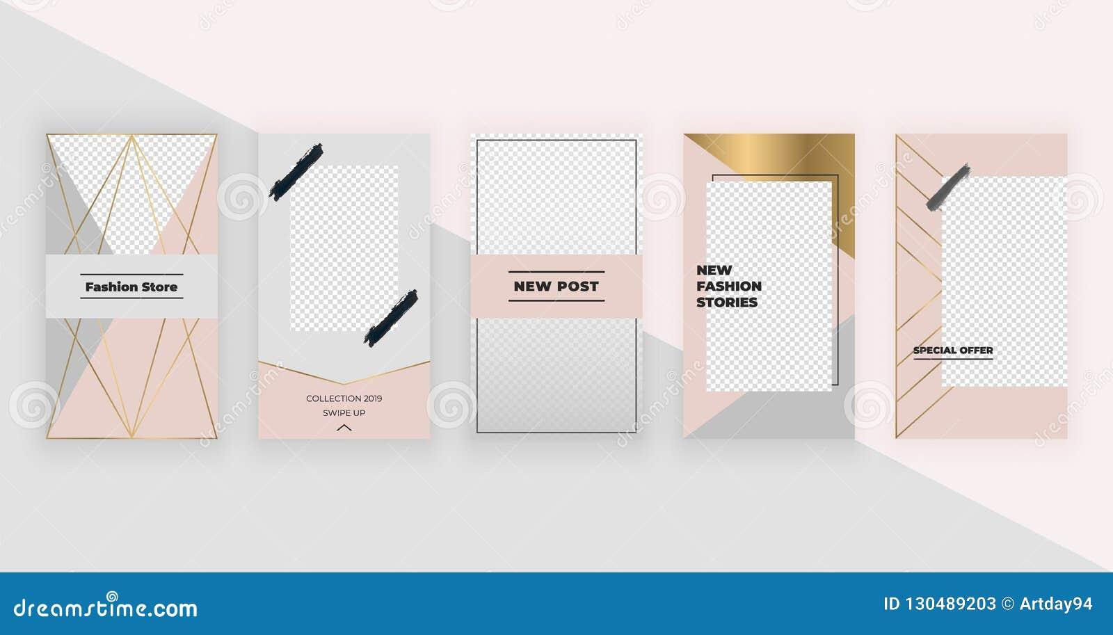 Moda szablony dla Instagram opowieści Nowożytny okładkowy projekt dla ogólnospołecznych środków, ulotki, karta