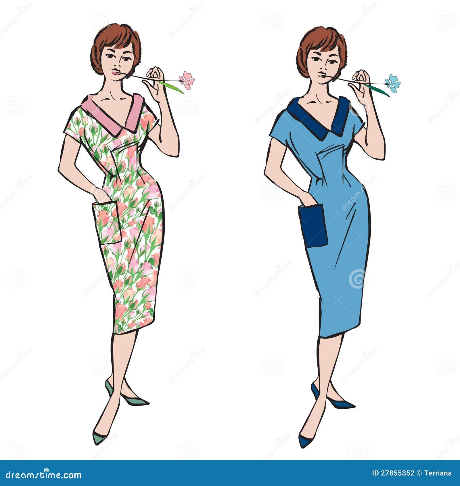 Moda ubierać dziewczyny (1950 s 1960 s styl