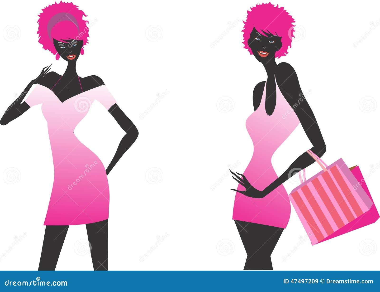 Moda zakupy dziewczyn ilustraci set