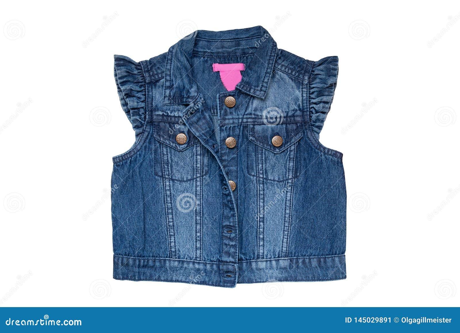 Mode De Gilets De Jeans Les Blues Jean Sans Manche Investissent Ou Veste Pour La Petite Fille D Isolement Sur Un Fond Blanc Avant Image Stock Image Du Petite Blues 145029891