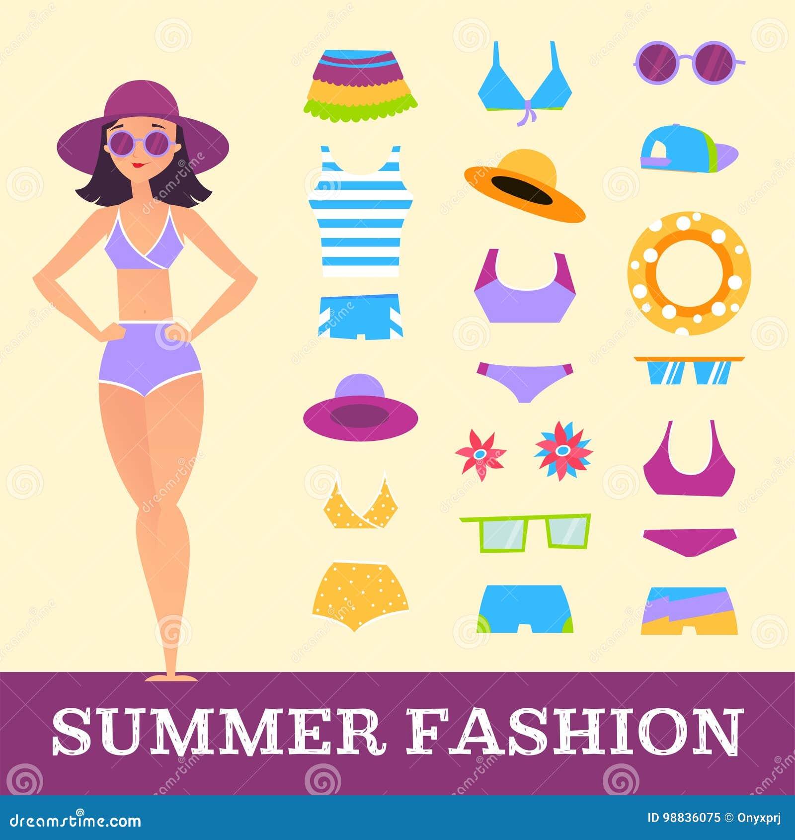 Mode de plage Fille et accessoires divers de vêtements Type de dessin animé