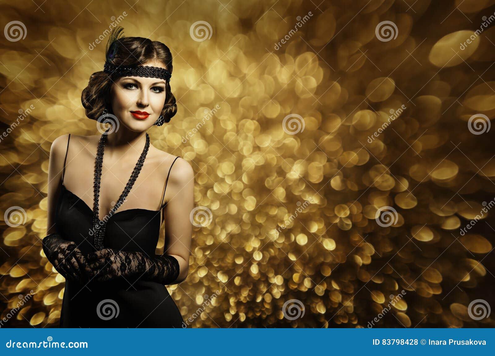 Mode-Frauen-Frisur bilden, elegante Retro- Dame, Schwarz-Kleid