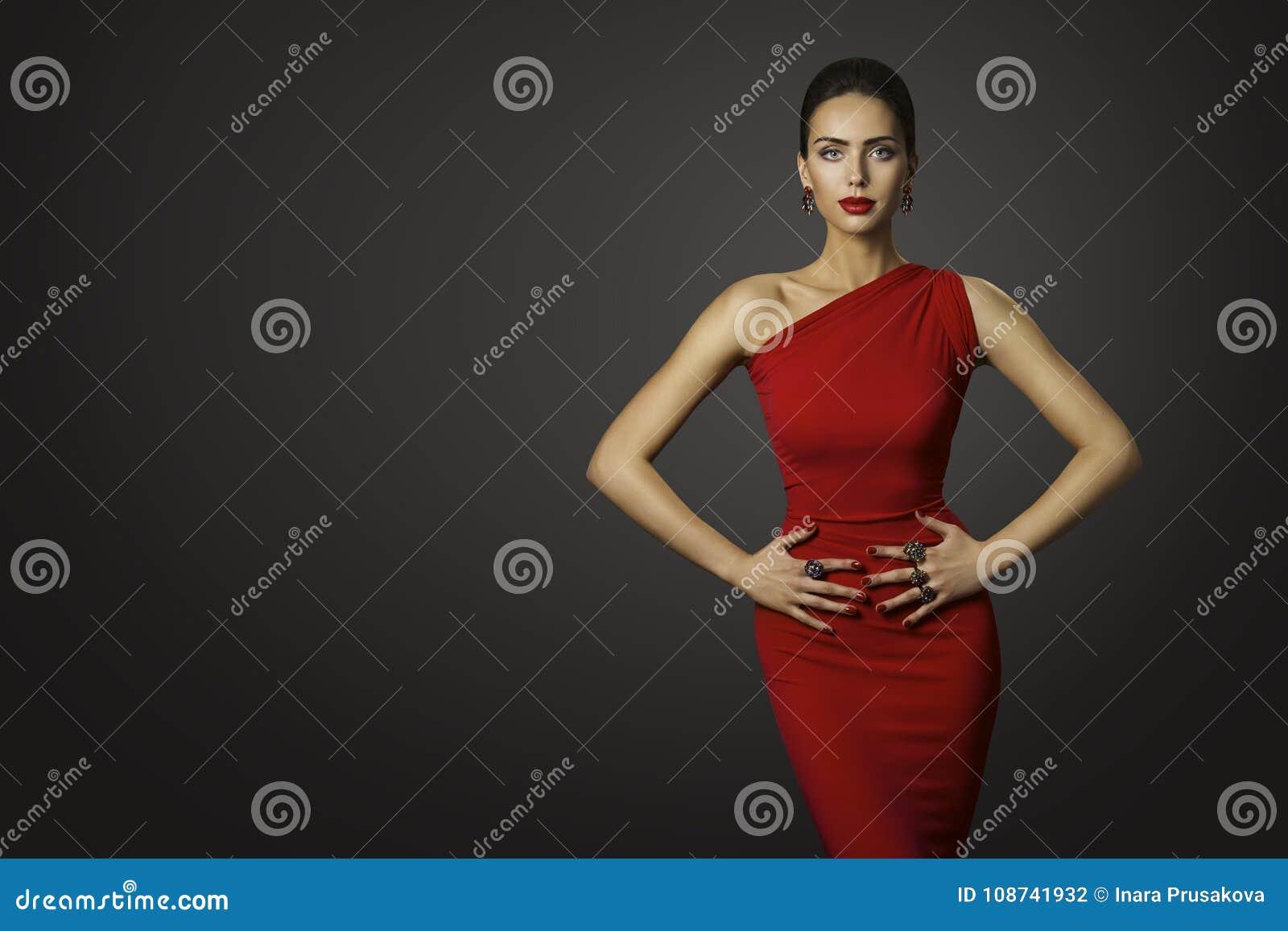 Mode-Modell Red Dress, elegante Frau im sexy Abend-Kleid