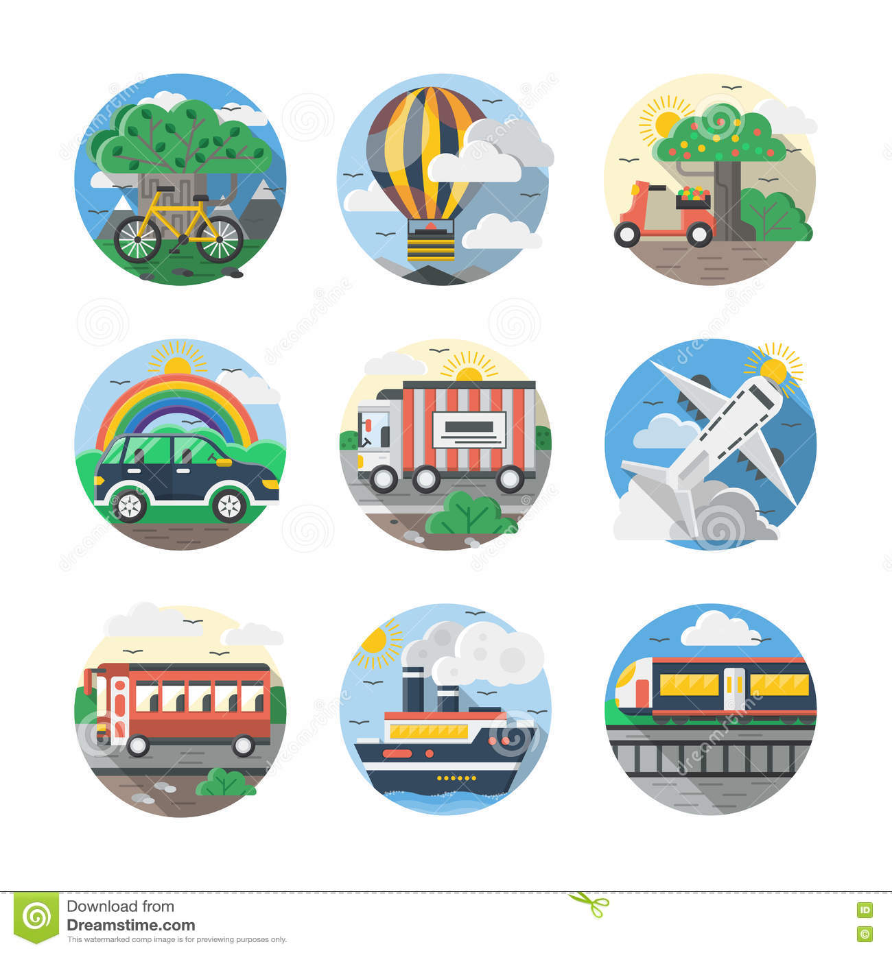Mode of transport color detailed icons set Royalty Free Stock Photos