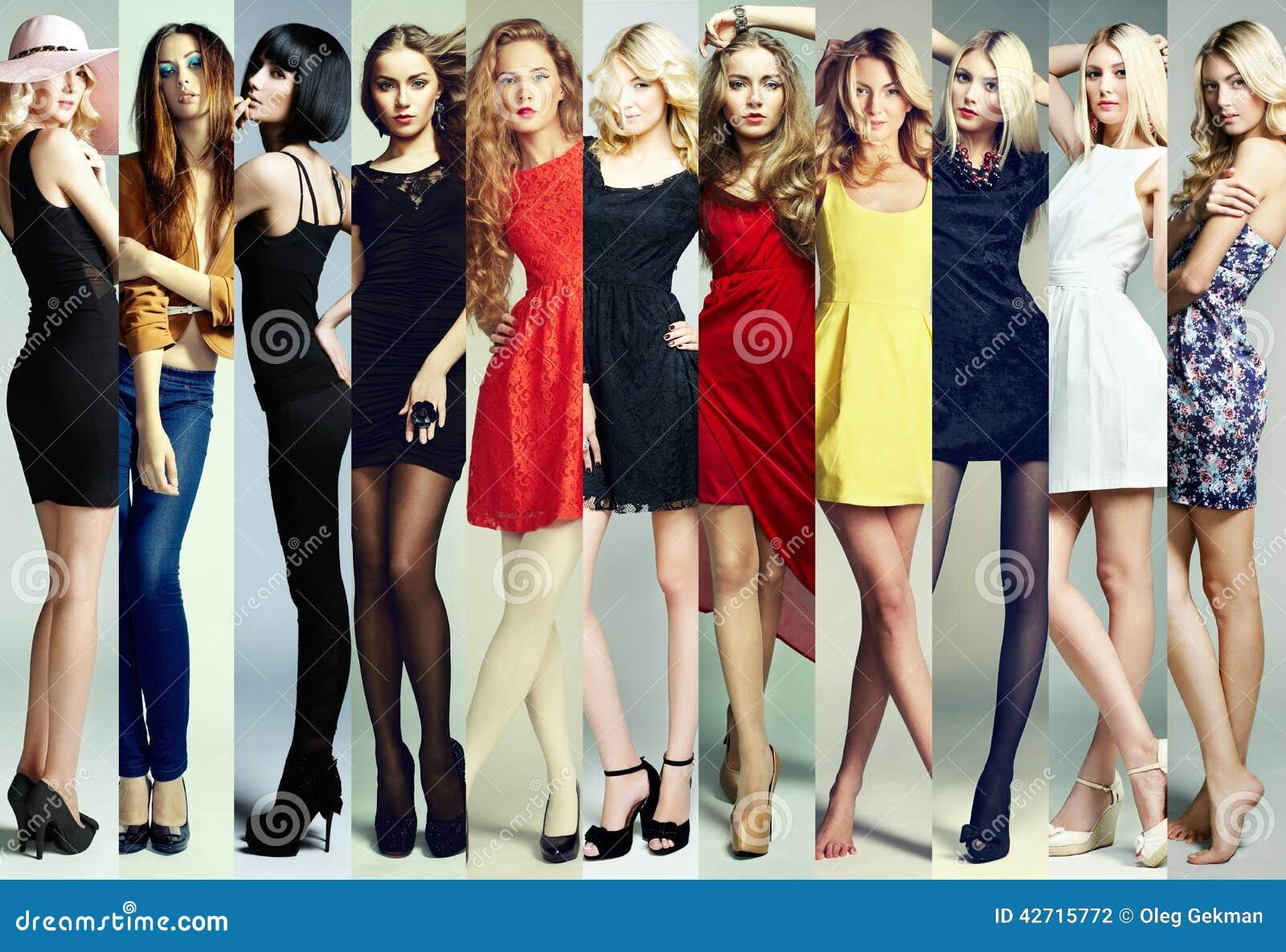 Modecollage Grupp av härliga unga kvinnor