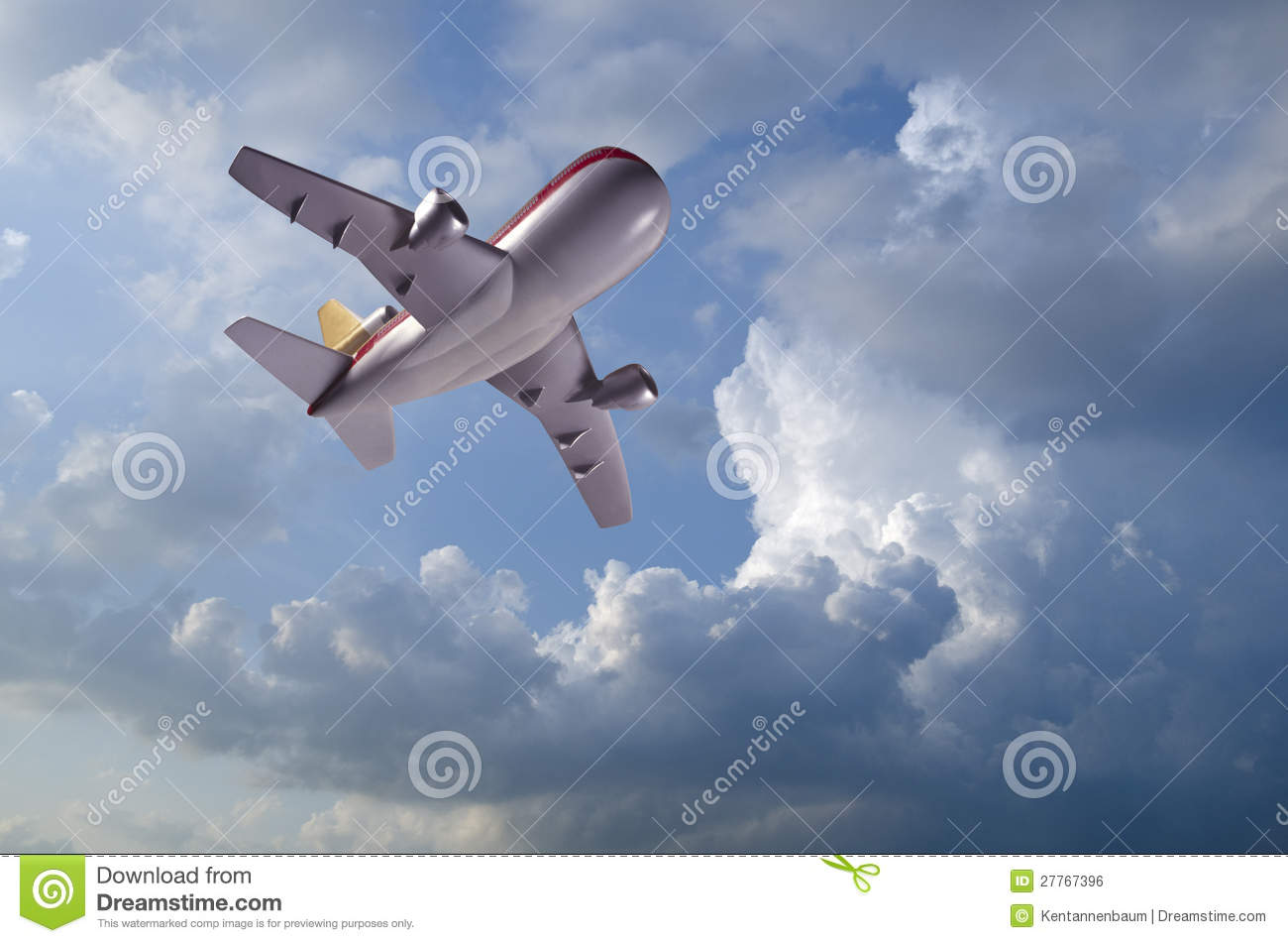 Model airplane flying in clouds