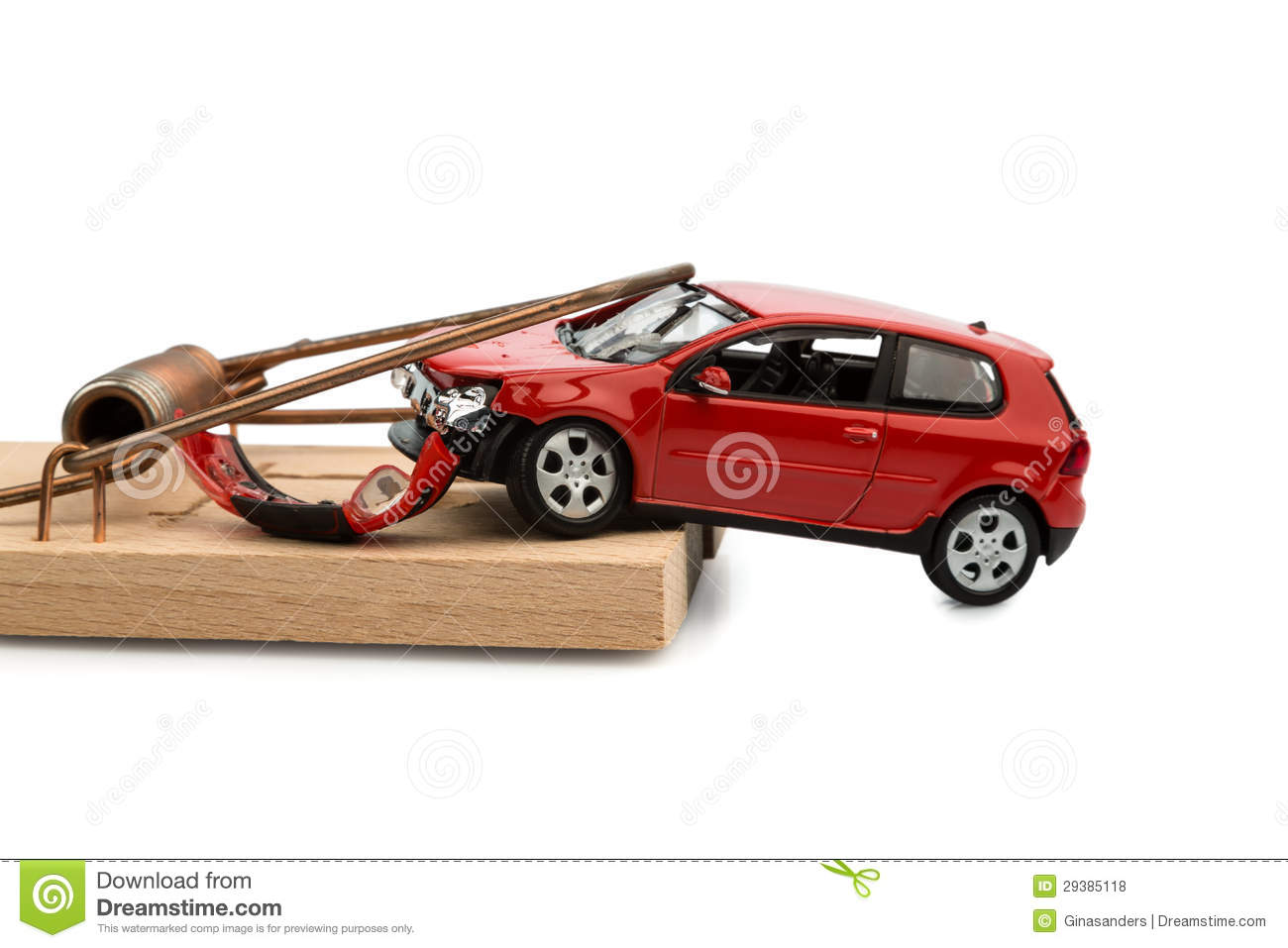 Model car in a mousetrap