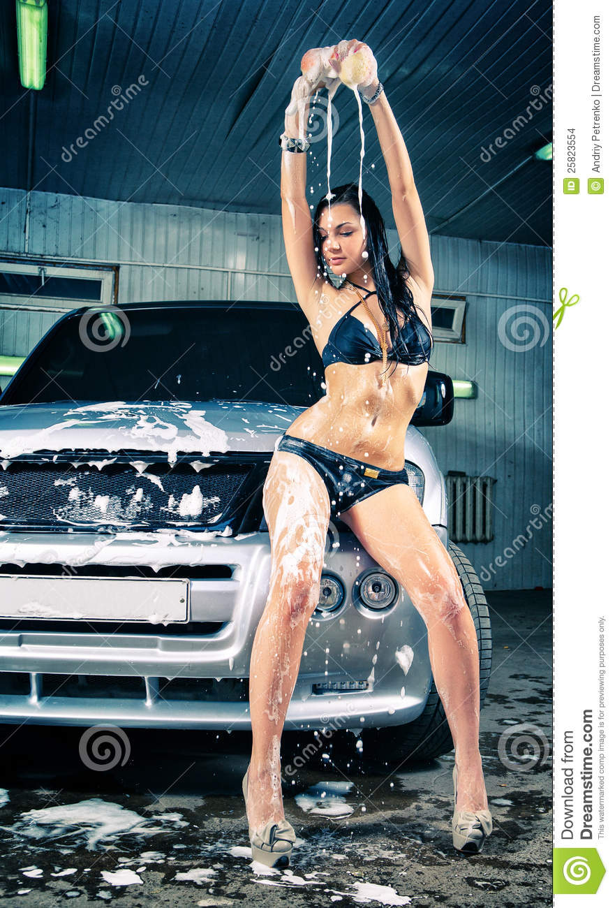 Model At The Car Wash In Garage Stock Images Image