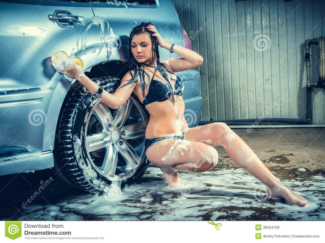 Model At The Car Wash In Garage Stock Photo Image 38434756