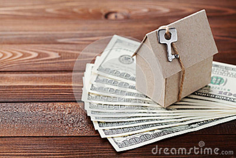 Model Cardboard Home Key And Dollar Money House Building