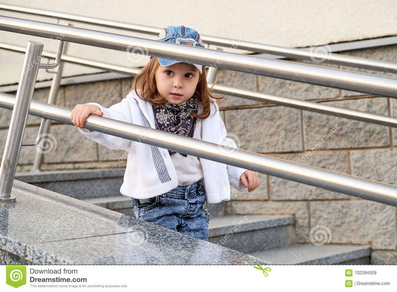 10c330db0 Model Child Girl Hip Hop On The Stairs Outdoors.children`s Street ...