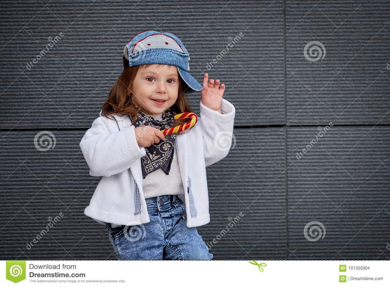 43b3a3ad0d460 Model Child Hip-hop.baby In A Baseball Cap. Stock Photo - Image of ...