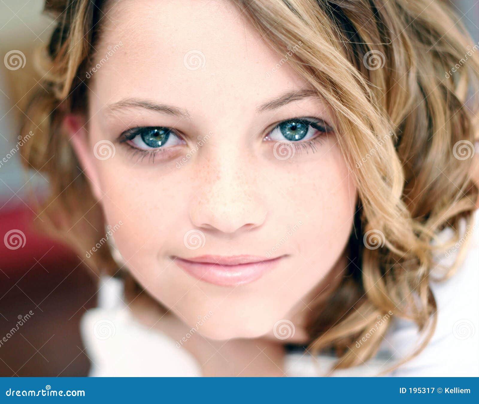 Model Close Up Stock Image. Image Of Female, Woman, Blue
