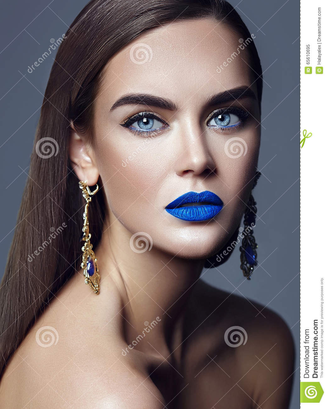 Glitz Glam Blue Diamontrigue Jewelry: Model With Colorful Makeup With Blue Lips And Jewelry
