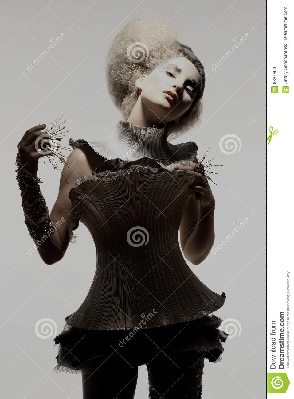 Model in expression dress and hair