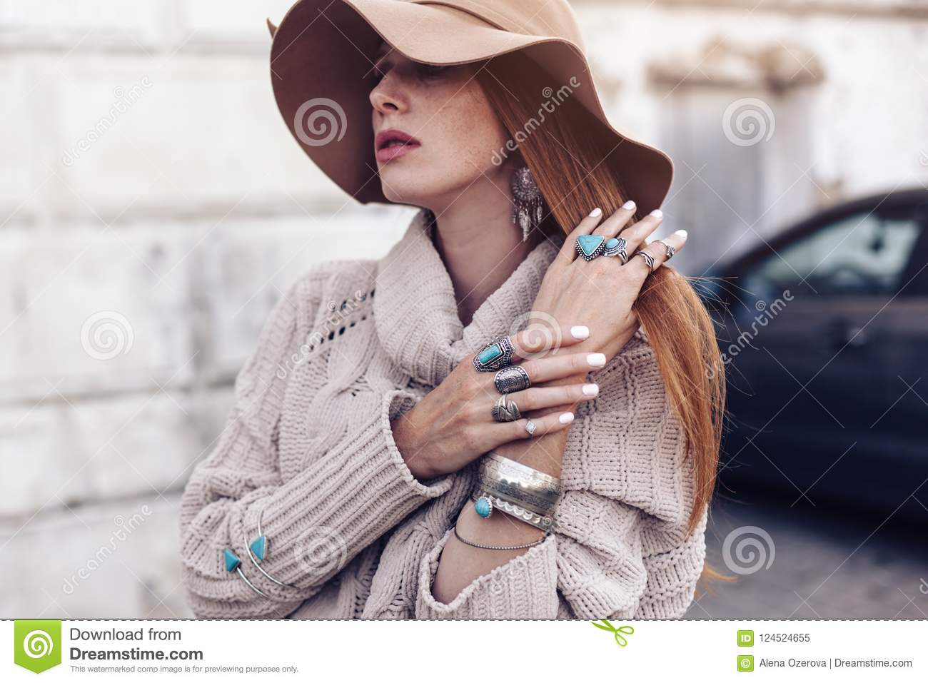 Model In Fall Cozy Sweater And Boho Jewellery Stock Image Image