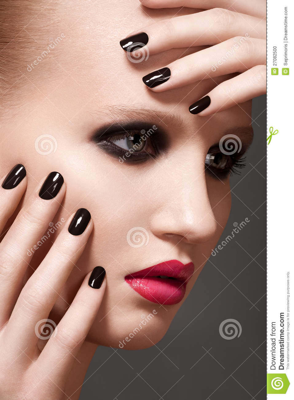 Model With Fashion Lips Make-up And Nails Manicure Stock Photo ...