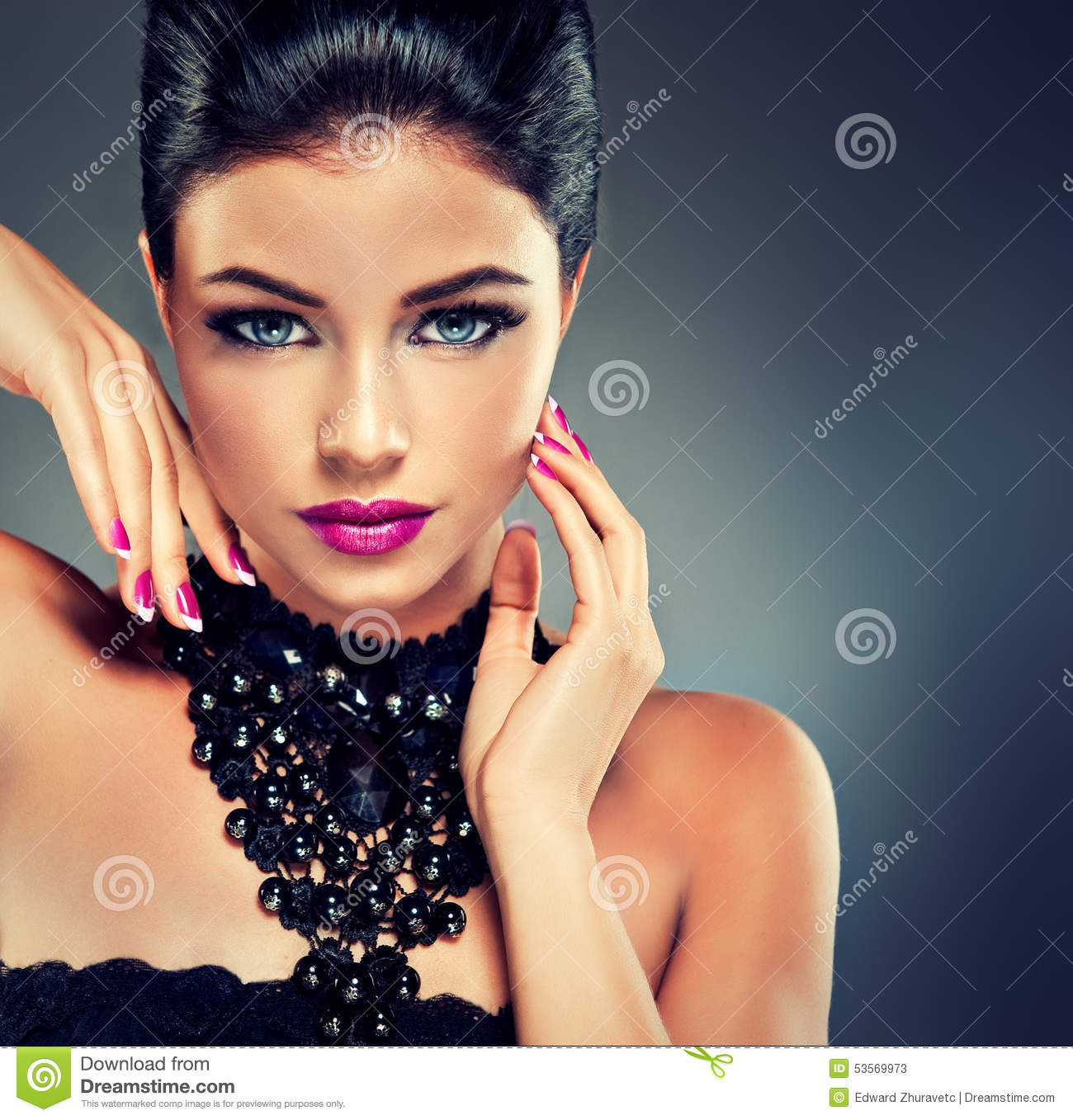 Model With Fashionable Nail Polish Stock Photos