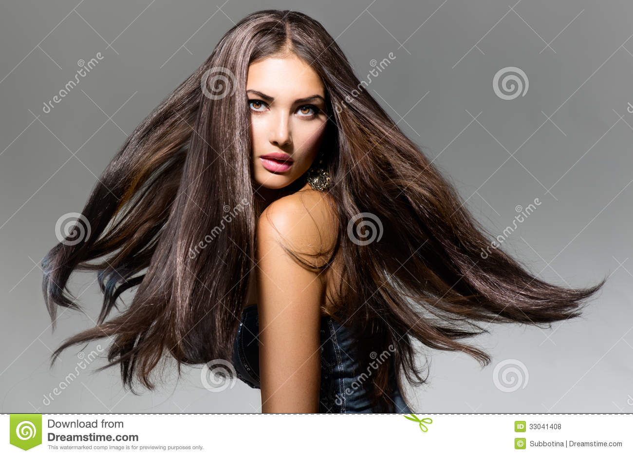 model girl with blowing hair stock photo - image of makeup, brunette